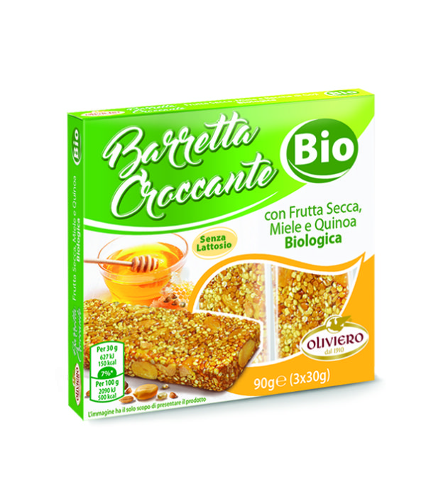 Barretta croccante con frutta secca, miele e quinoa Biologica