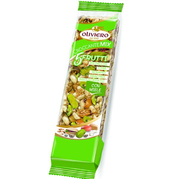 Croccante mix 5 frutti con pistacchi, chia, sesamo, arachidi e riso soffiato