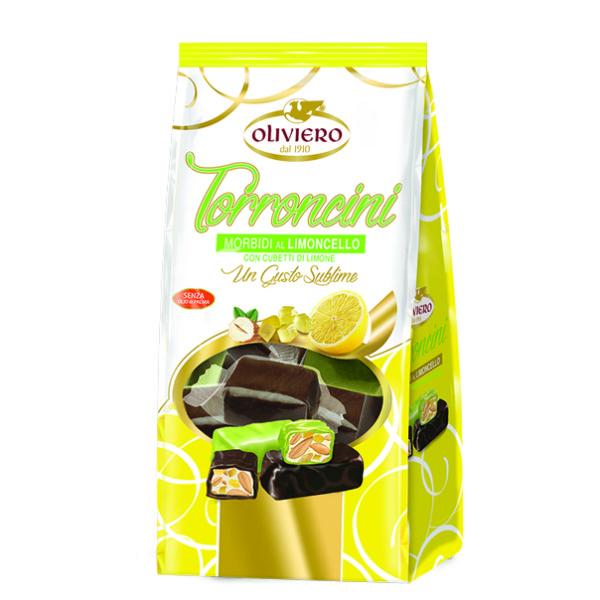Bustina torroncini morbidi al gusto limoncello ricoperti di cioccolato extra fondente e cioccolato limone
