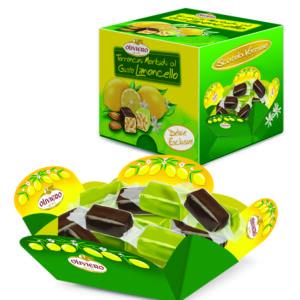 Confezione di torroncini morbidi al gusto limoncello ricoperti di cioccolato extra fondente e cioccolato limone