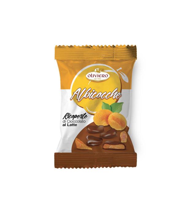 Bustina di albicocche ricoperte di cioccolato extra fondente