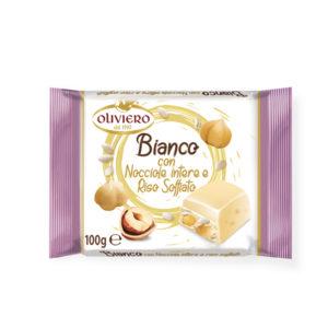 Tavoletta cioccolato bianco con nocciole intere e riso soffiato