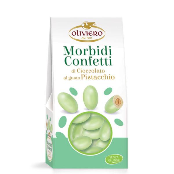 Astuccio di mandorle ricoperte di cioccolato bianco al gusto pistacchio confettate
