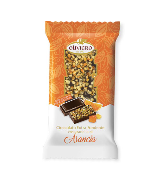 Barretta di cioccolato fondente con granella di arancia