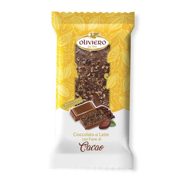 Barretta di cioccolato al latte con granella di cacao