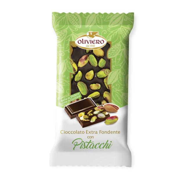Barretta di cioccolato fondente con pistacchi
