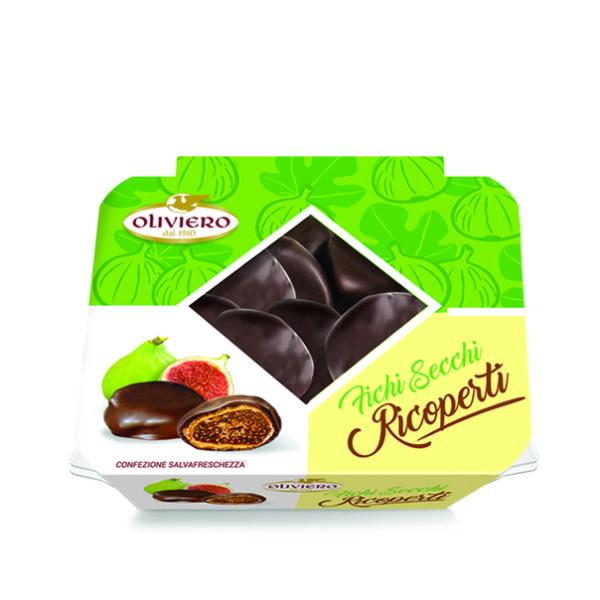 Vaschette di fichi secchi ricoperti al cioccolato extra fondente