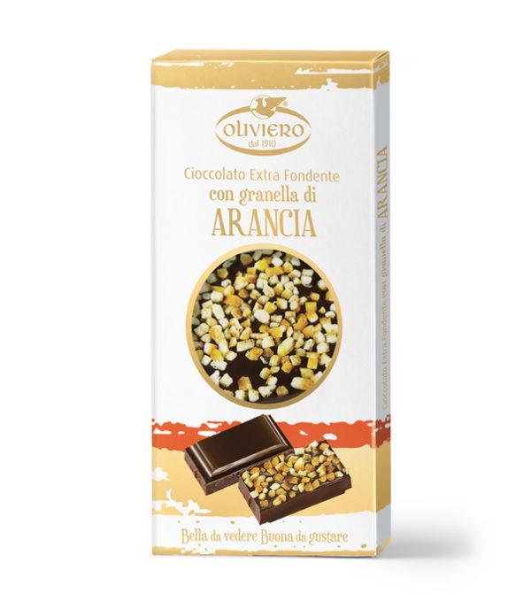 Barretta di cioccolato fondente con con granella di arancia