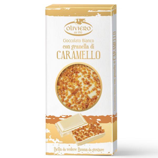 Barretta di cioccolato bianco con con granella di caramello