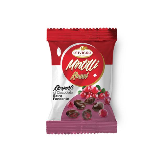 Bustina di mirtilli ricoperti di cioccolato extra fondente