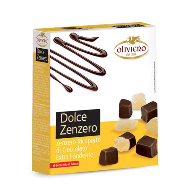 Zenzero ricoperto di cioccolato fondente