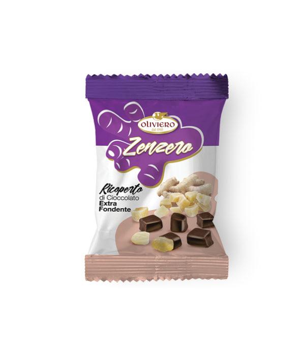 Bustina di zenzero ricoperto di cioccolato extra fondente