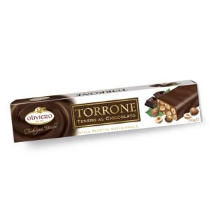 Torrone morbido al cioccolato ricoperto di cioccolato fondente